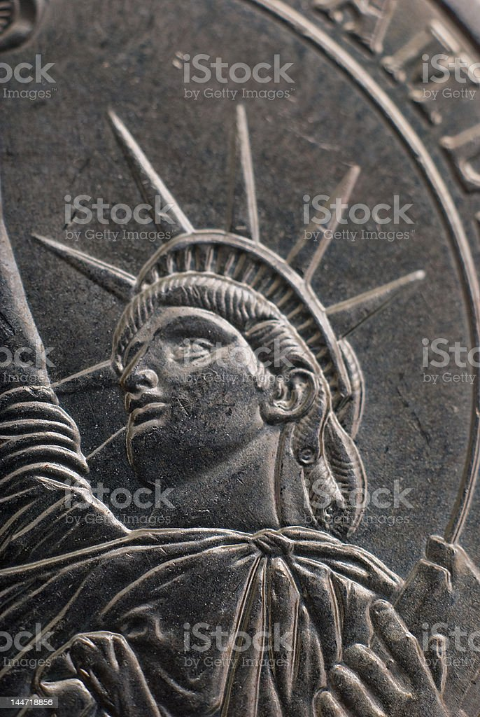 Statue of Liberty on Dollar Coin 2 stock photo