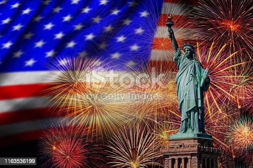 istock Statue of Liberty over the Multicolor Fireworks Celebrate with the United state of America USA flag background, 4th of July and Independence day concept 1163536199