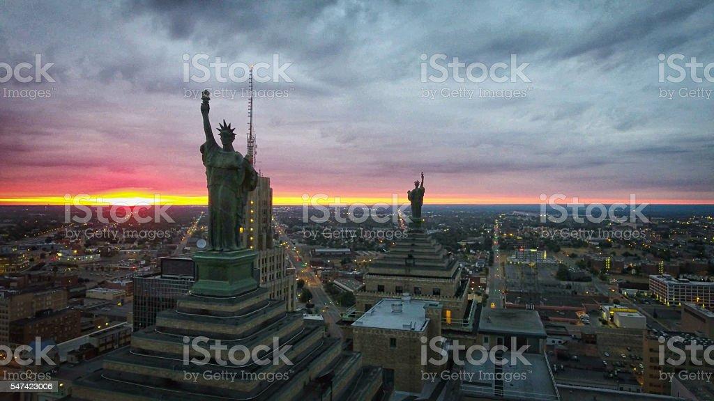 Statue of Liberty Overlooking Buffalo New York stock photo