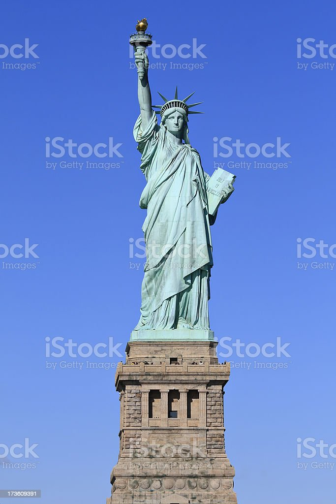 Statue of Liberty photograph with blue sky stock photo