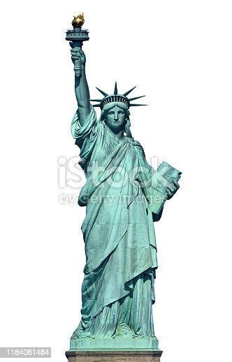 front view of the Statue Of Liberty in New York isolated on white background