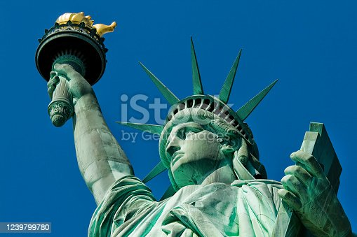 The famous Statue of Liberty in New York city, USA.