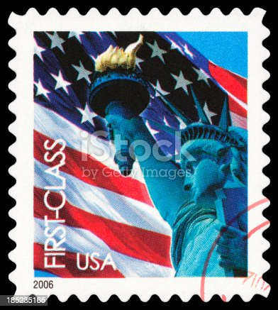 Cancelled Stamp From The United States: Statue of Liberty.