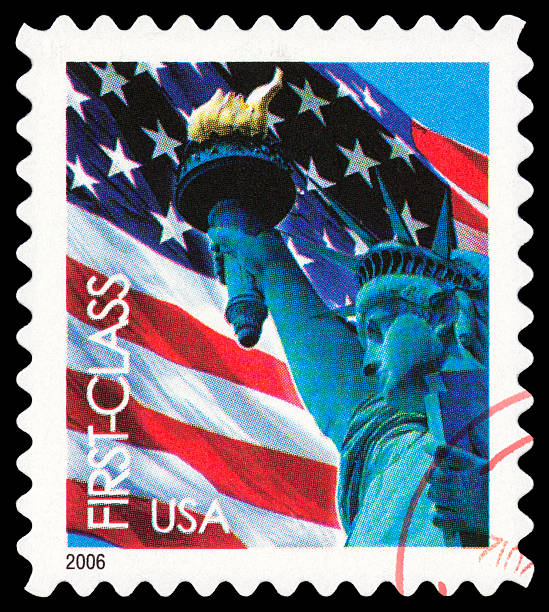 Statue of Liberty Cancelled Stamp From The United States: Statue of Liberty. liberty island stock pictures, royalty-free photos & images