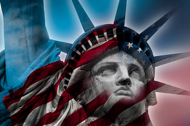 Statue of Liberty Double exposure image of the Statue of Liberty and the American flag immigrant stock pictures, royalty-free photos & images