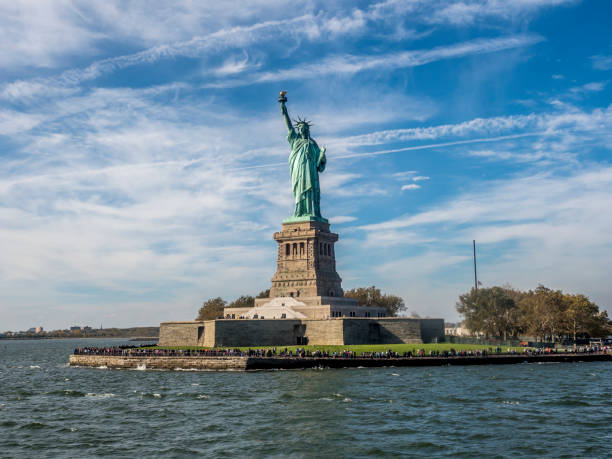 Statue of Liberty Statue of Liberty sculpture on Liberty Island in New York Harbor in New York City liberty island stock pictures, royalty-free photos & images
