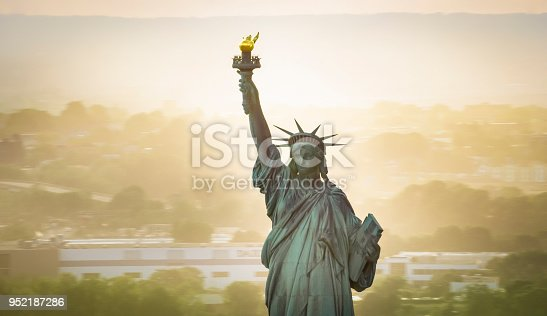 Aerial shot of the Statue of Liberty in New York, USA. Shot in USA.