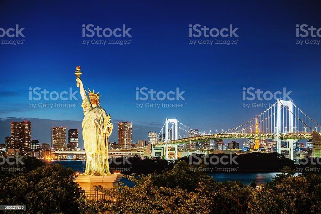Statue of Liberty, Rainbow Bridge and Tokyo Tower stock photo