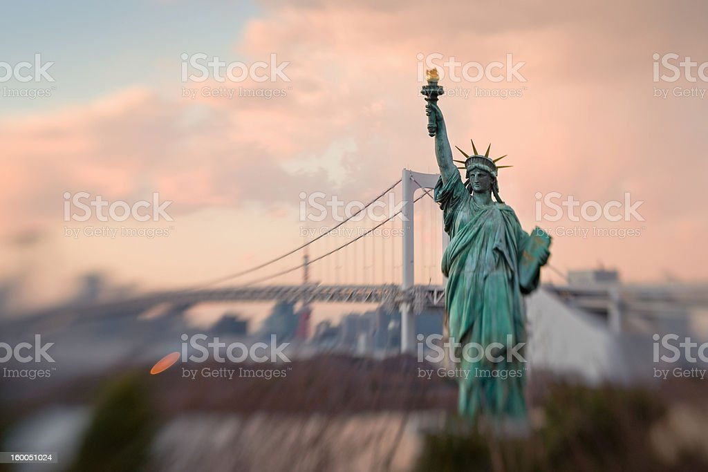 Statue of Liberty Replica in Tokyo Bay royalty-free stock photo