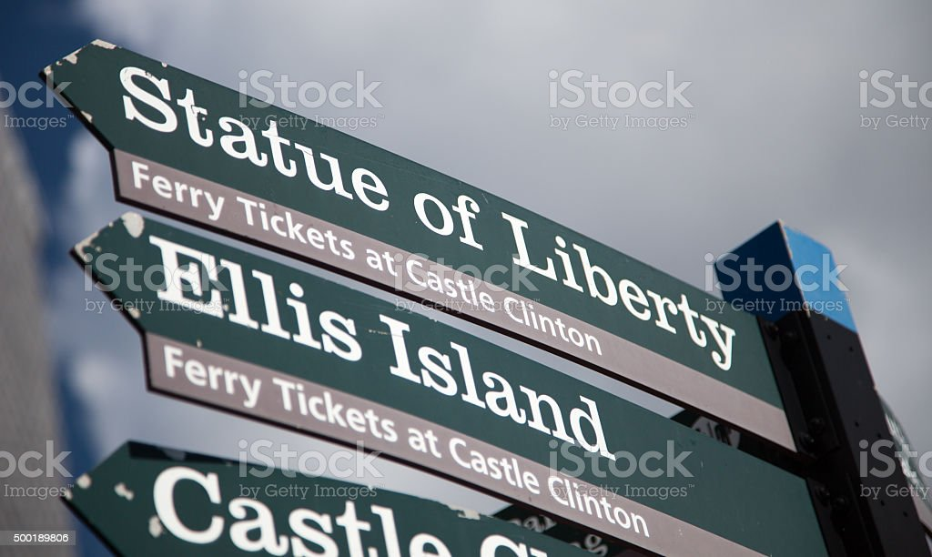 Statue of Liberty signpost in New York City stock photo