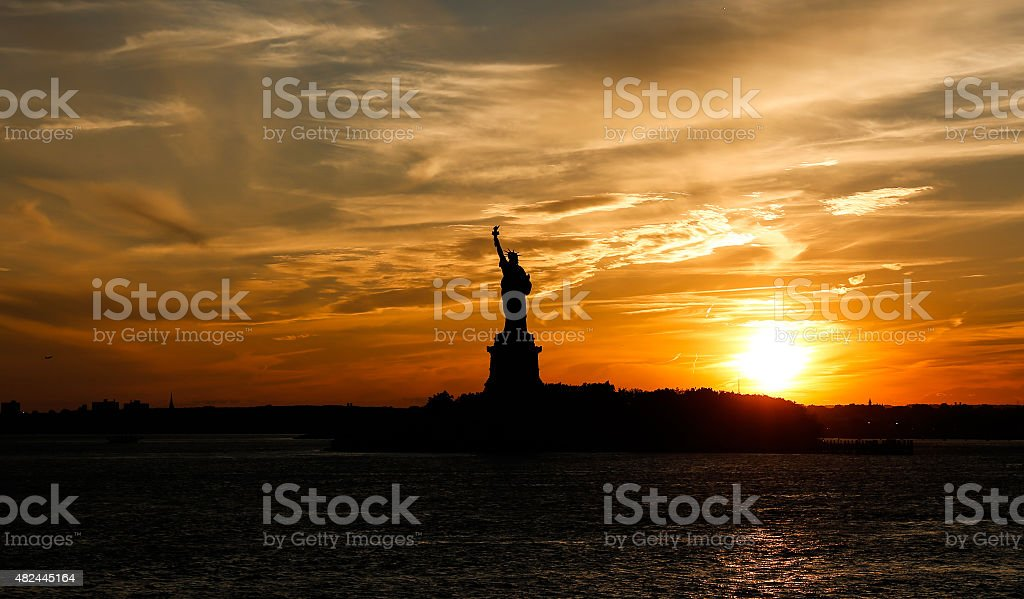 Statue of Liberty Silhouetted at dusk - New York City stock photo