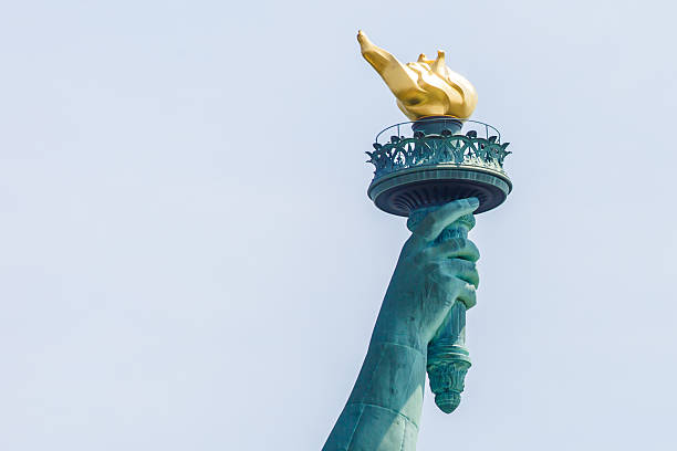 Statue of Liberty torch View on Statue of Liberty's torch flaming torch stock pictures, royalty-free photos & images