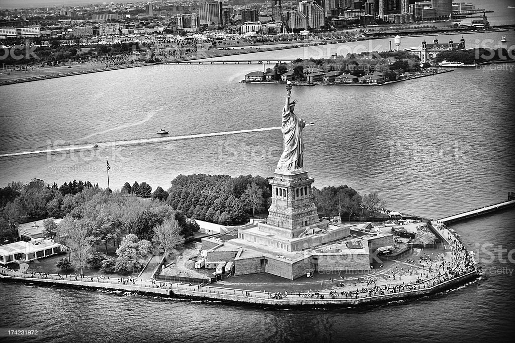 Statue of Liberty viewed from above stock photo