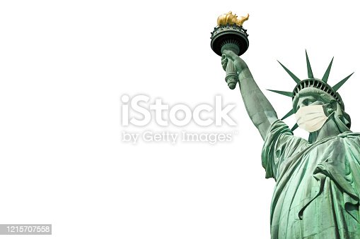 Statue of Liberty wearing a surgical mask isolated on white background. New coronavirus, covid-19 in New York and USA epidemic crisis concept
