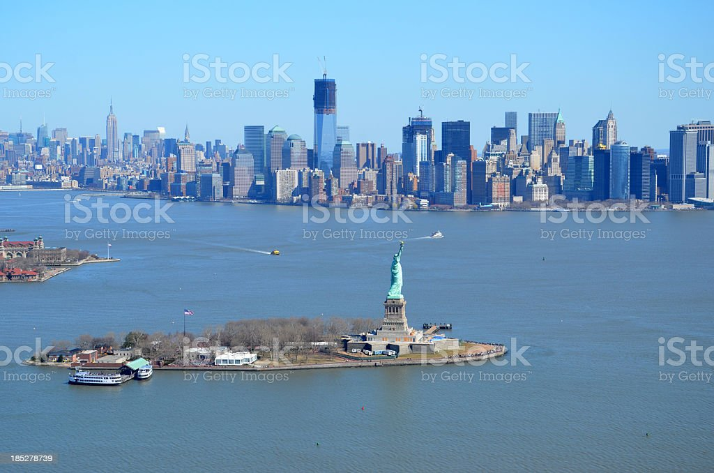 Statue of Liberty with Manhattan stock photo