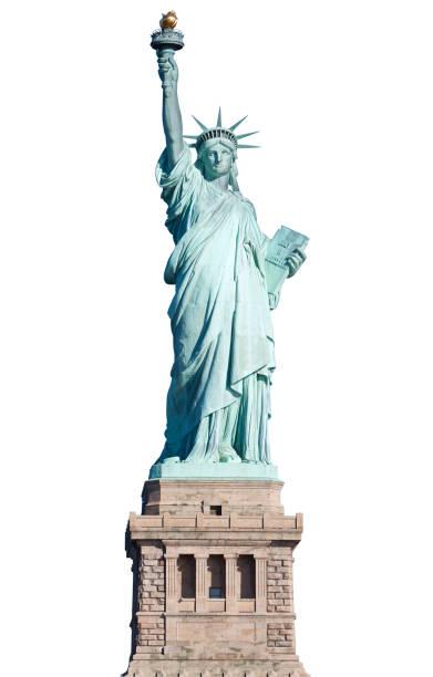 Estatua de la libertad con pedestal en Nueva York en blanco, trazado de recorte - foto de stock