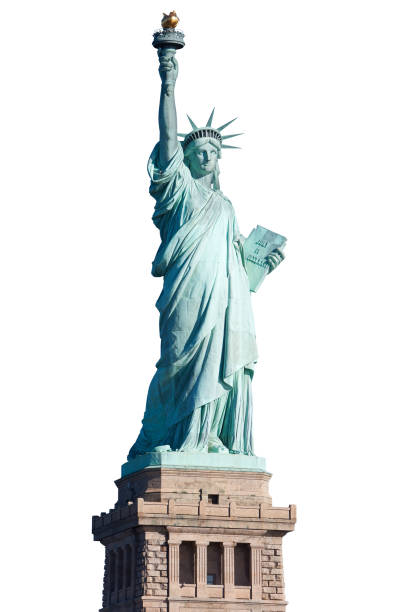Statue of Liberty with pedestal on white, clipping path Statue of Liberty with pedestal isolated on white, clipping path liberty island stock pictures, royalty-free photos & images