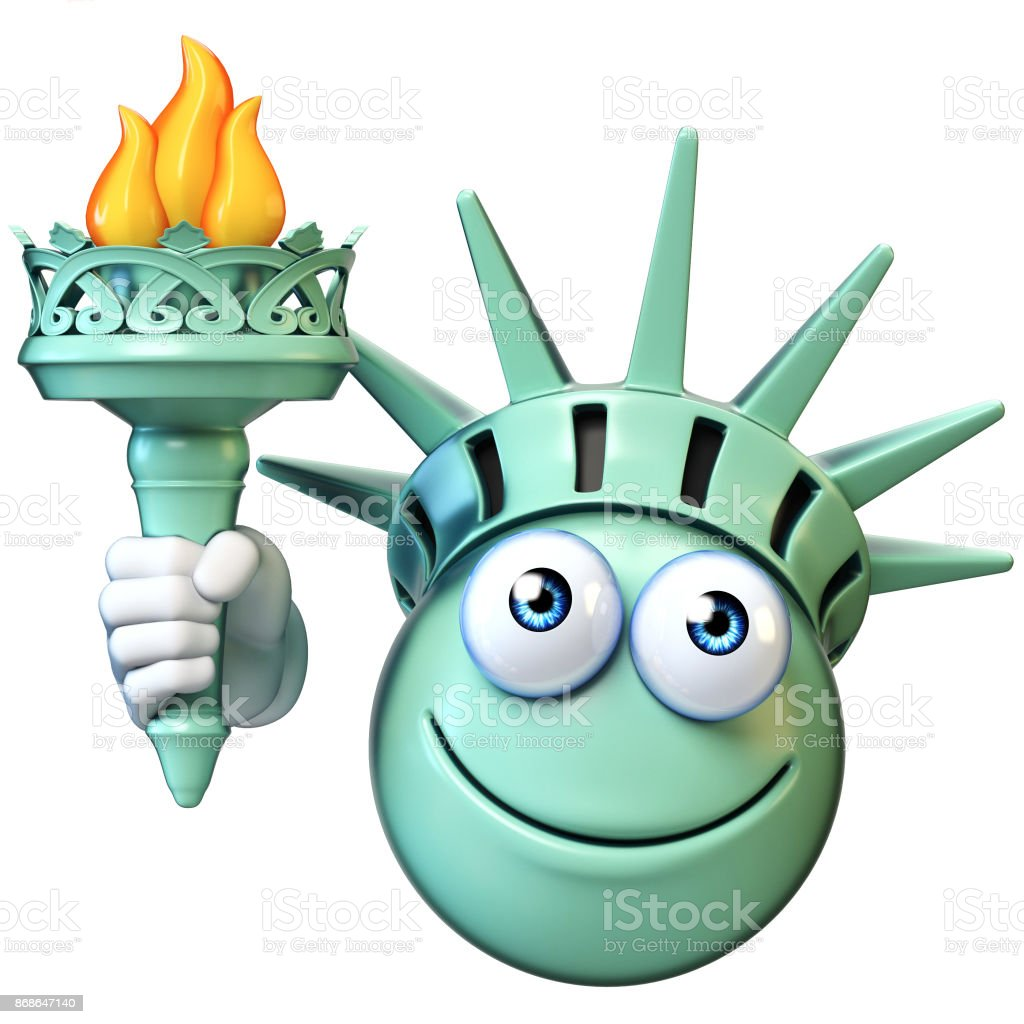 Statue of liberty with torch emoji, cartoon emoticon 3d rendering stock photo