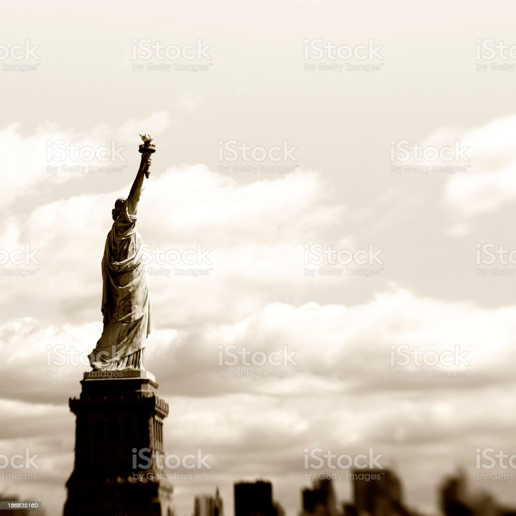 Statue of Liberty,NYC.Sepia Toned. royalty-free stock photo