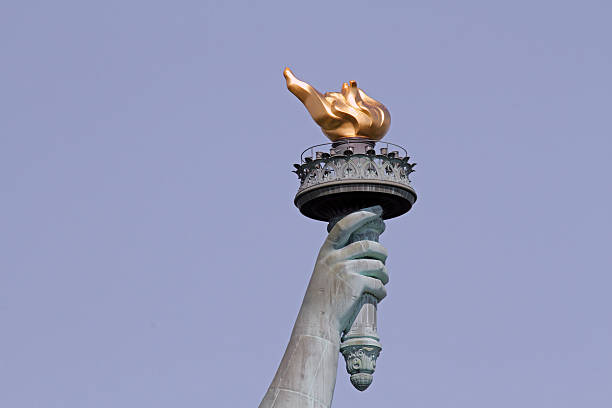 Statue of Liberty's Torch The torch of the Statue of Liberty flaming torch stock pictures, royalty-free photos & images