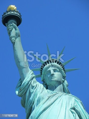 Close-up of the iconic Statue of Liberty's face.