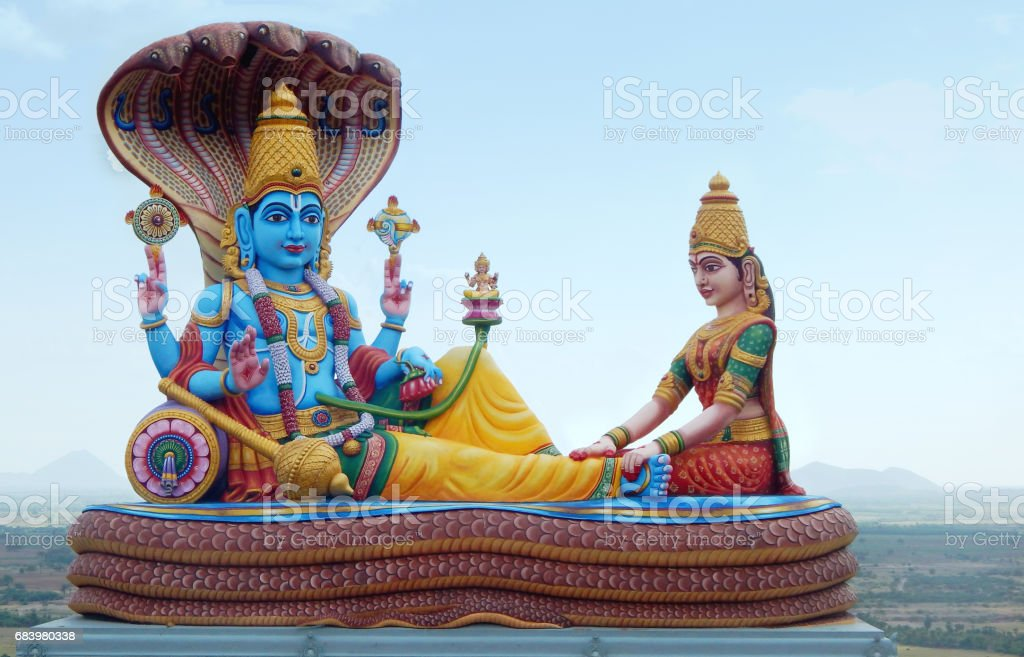 Statue of Lord vishnu and lakshmi Hindu God and goddess as in mythology in temple,India stock photo