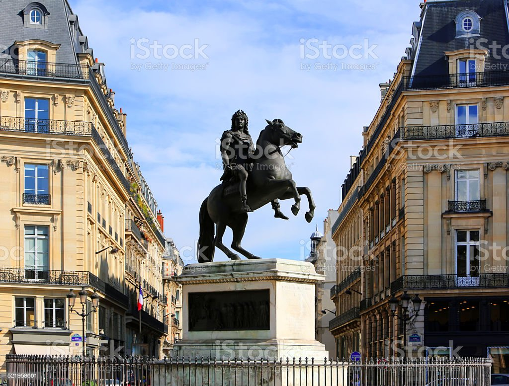 Statue of Louis XIV in Paris, France stock photo