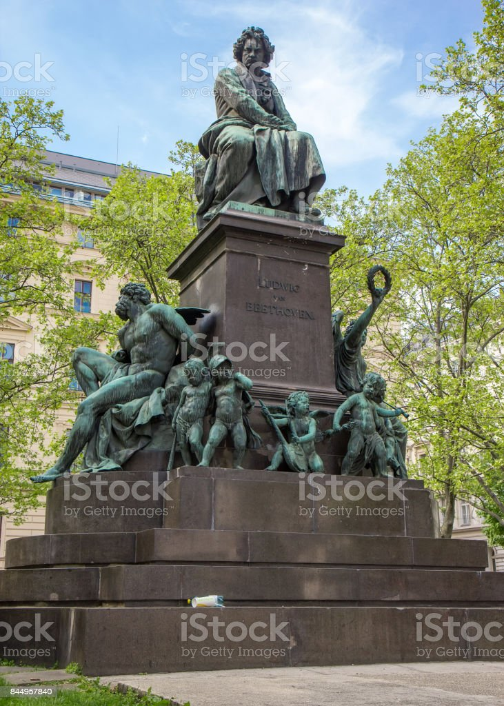 Statue of Ludwig van Beethoven in Vienna, Austria stock photo