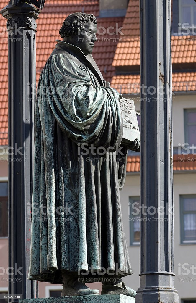 Lutherstatue, Wittenberg stock photo