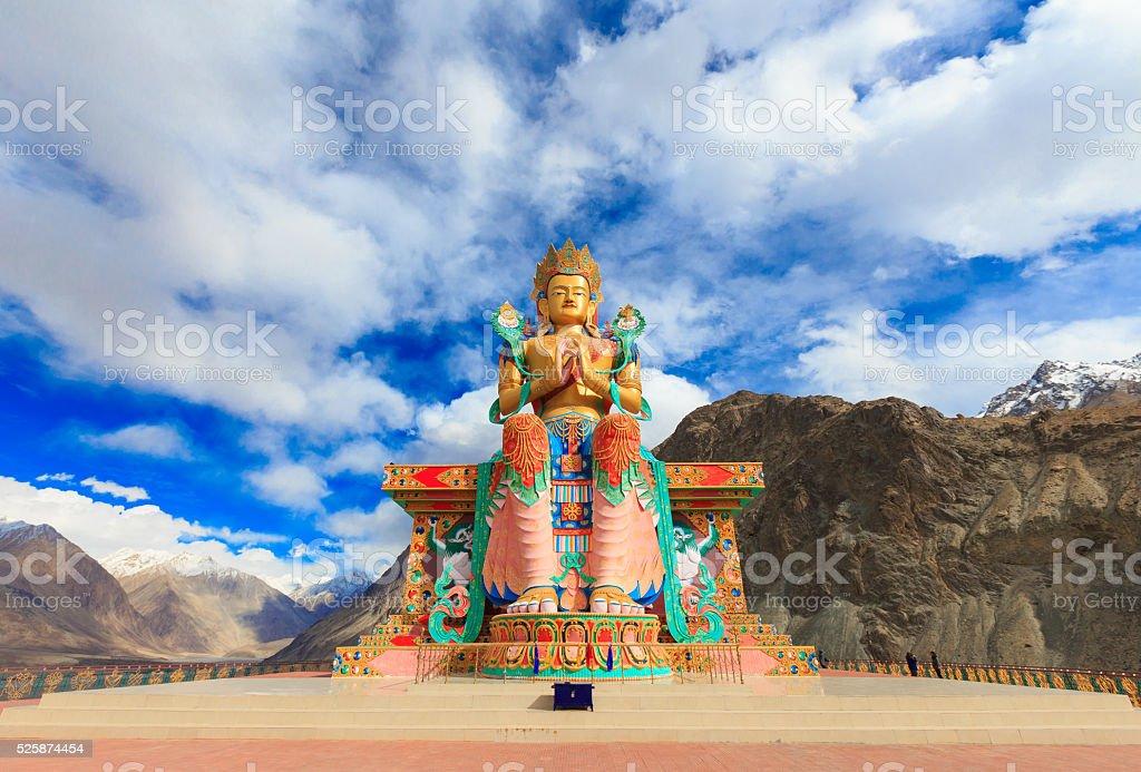 Statue of Maitreya Buddha, Diskit Monastery in Nubra valley stock photo