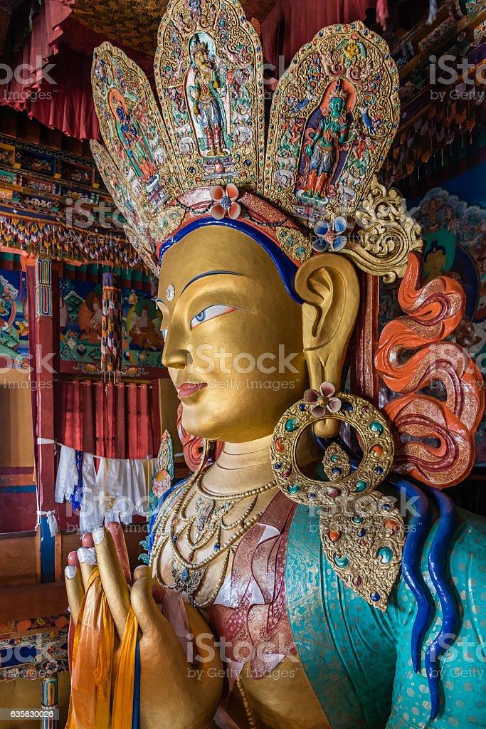 Statue of Maitreya buddha in Thiksay monastery stock photo