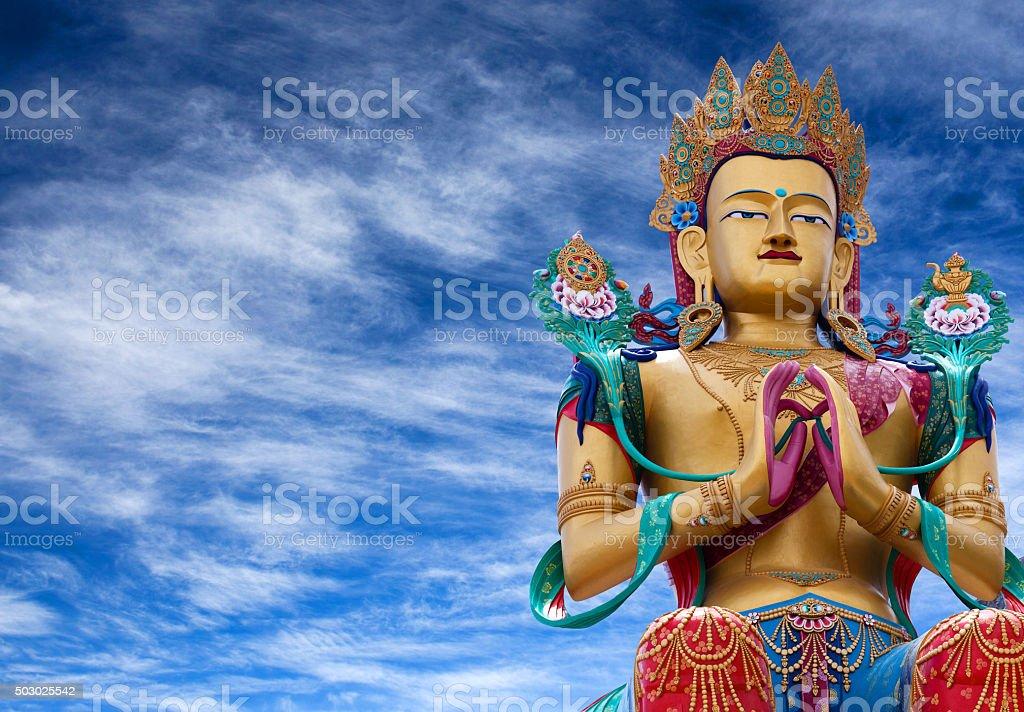 Statue of Maitreya Buddha near Diskit Monastery in Nubra valley, stock photo
