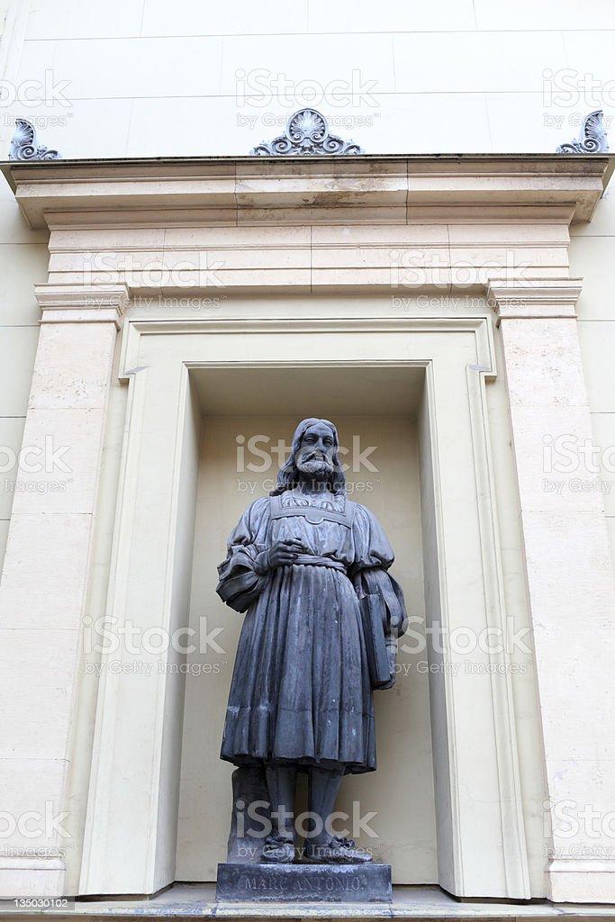Statue of Marcantonio Raimondi in Saint Petersburg stock photo