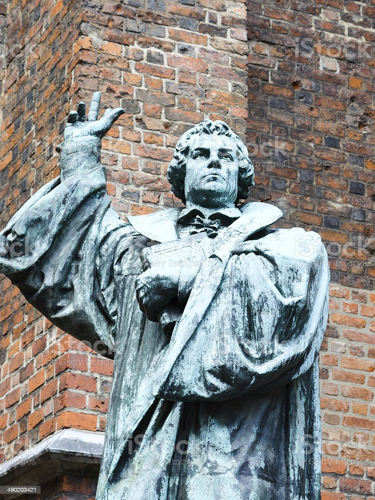Statue of Martin Luther in Hannover, Germany stock photo