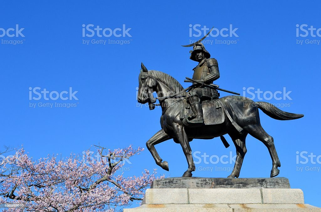 Statue of Masamune Date stock photo
