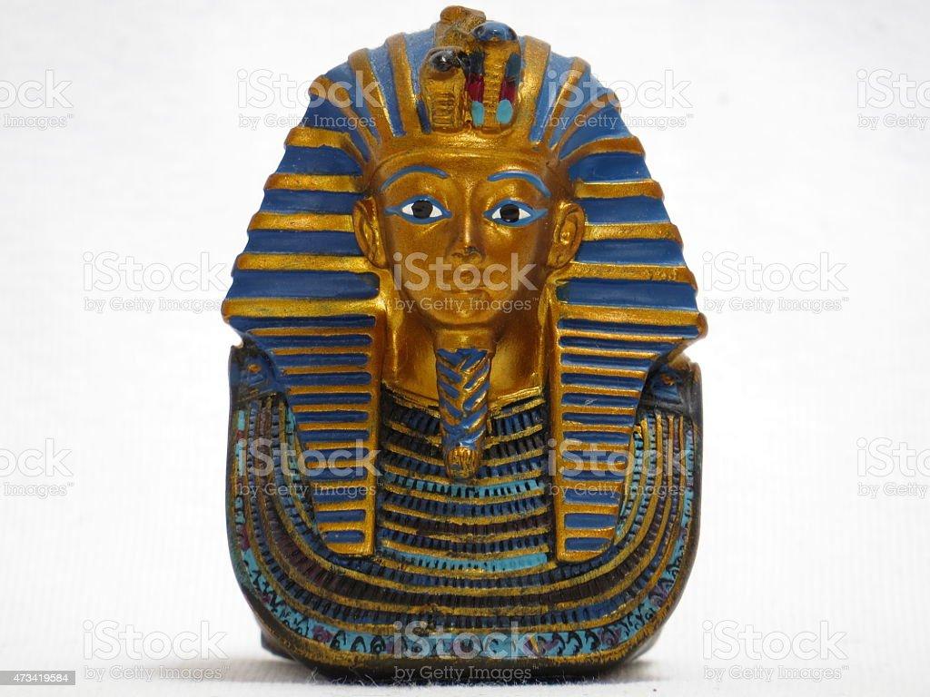 Statue of mask of King Tut, isolated on white background stock photo