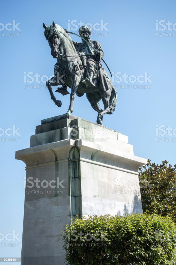 Statue of Mehmed Ali Pasha in Kavala, Greece stock photo