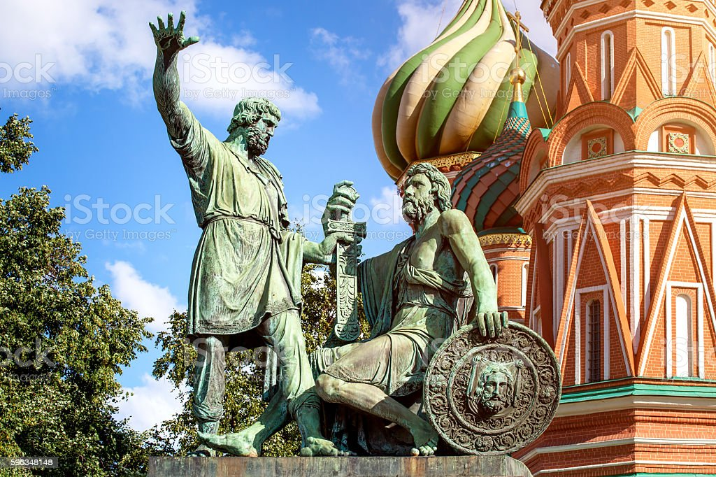 Statue of Minin and Pozharsky on Red square in Moscow royalty-free stock photo