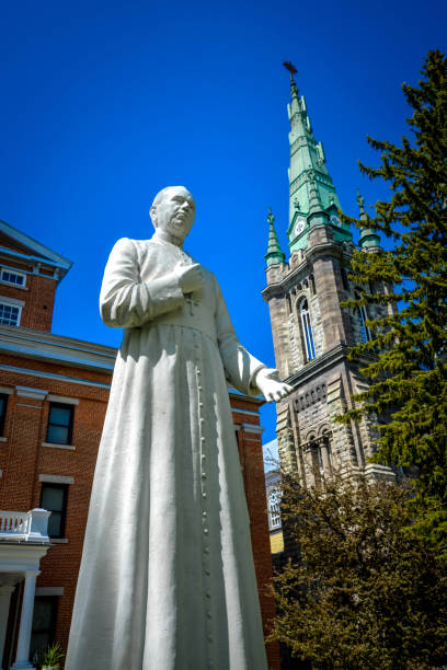 Statue of Monsignor Louis-Zéphirin Moreau third bishop of Saint-Hyacinthe in front of the Cathedral stock photo