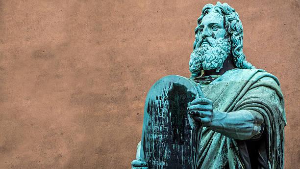 Statue of Moses by Herman Vilhelm Bissen in Copenhagen stock photo