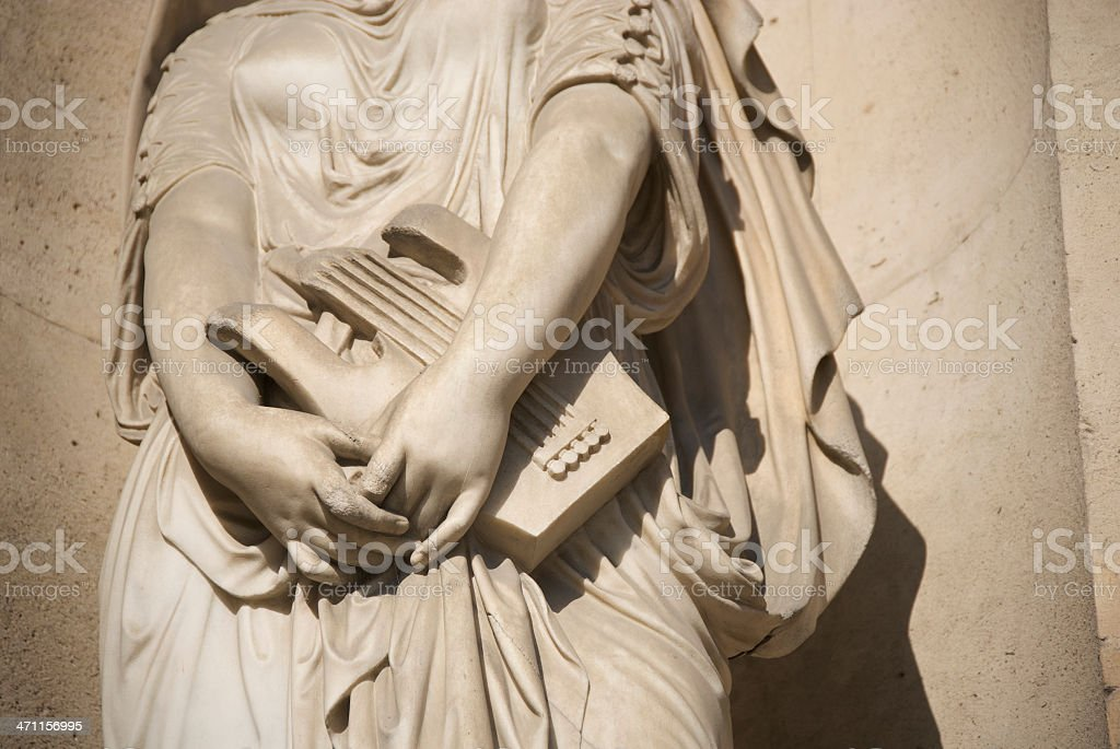 Statue of Musical Woman Holding Old Fashioned Lute Marble stock photo