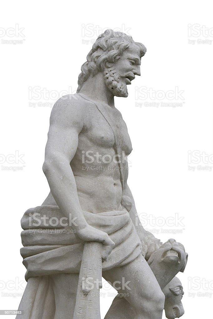 statue of mythologic divinity on white background stock photo