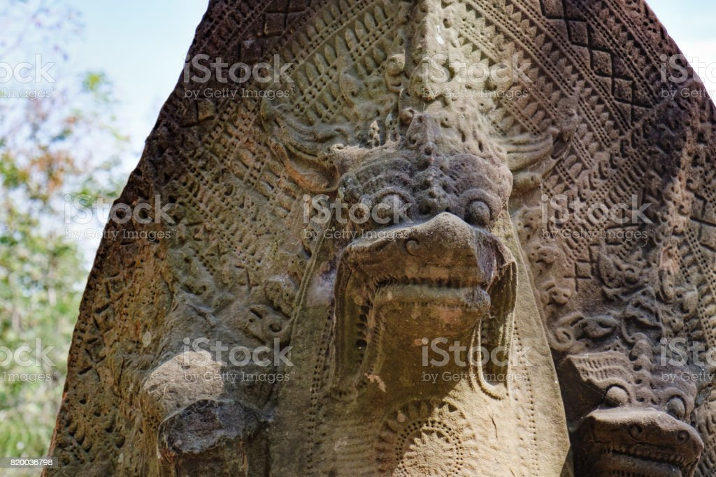 Statue of Naga at Beng Mealea Temple in Cambodia stock photo