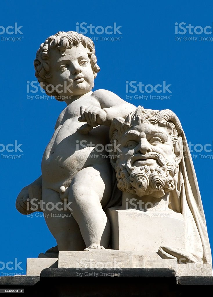 Statue of naked boy stock photo