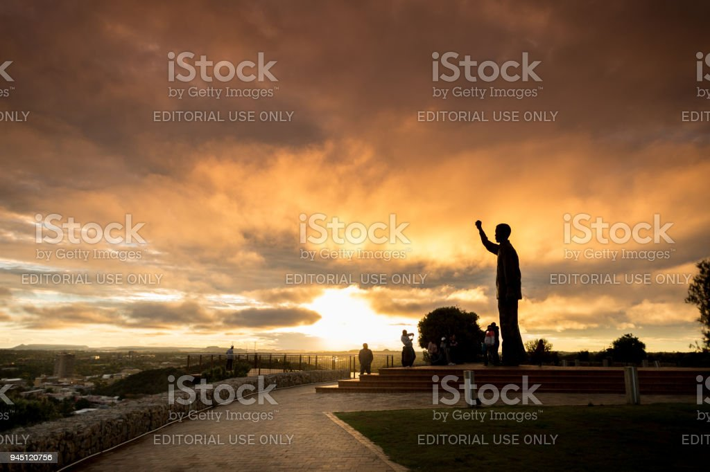 Statue of Nelson Mandela Silhouette Sunset stock photo