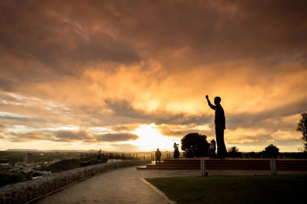 Statue of Nelson Mandela Silhouette Sunset stock photo