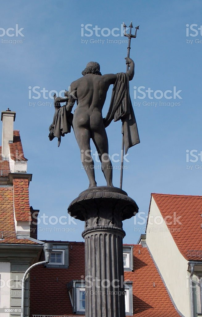Statue of Neptune at European Seaport royalty-free stock photo