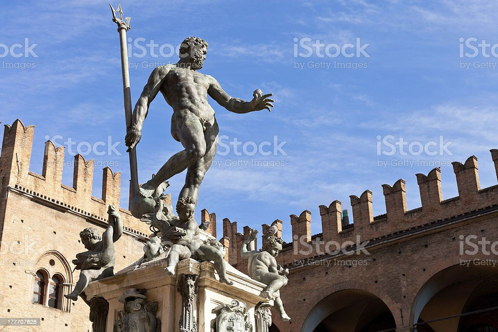 Statue of Neptune on Piazza del Nettuno in Bologna stock photo
