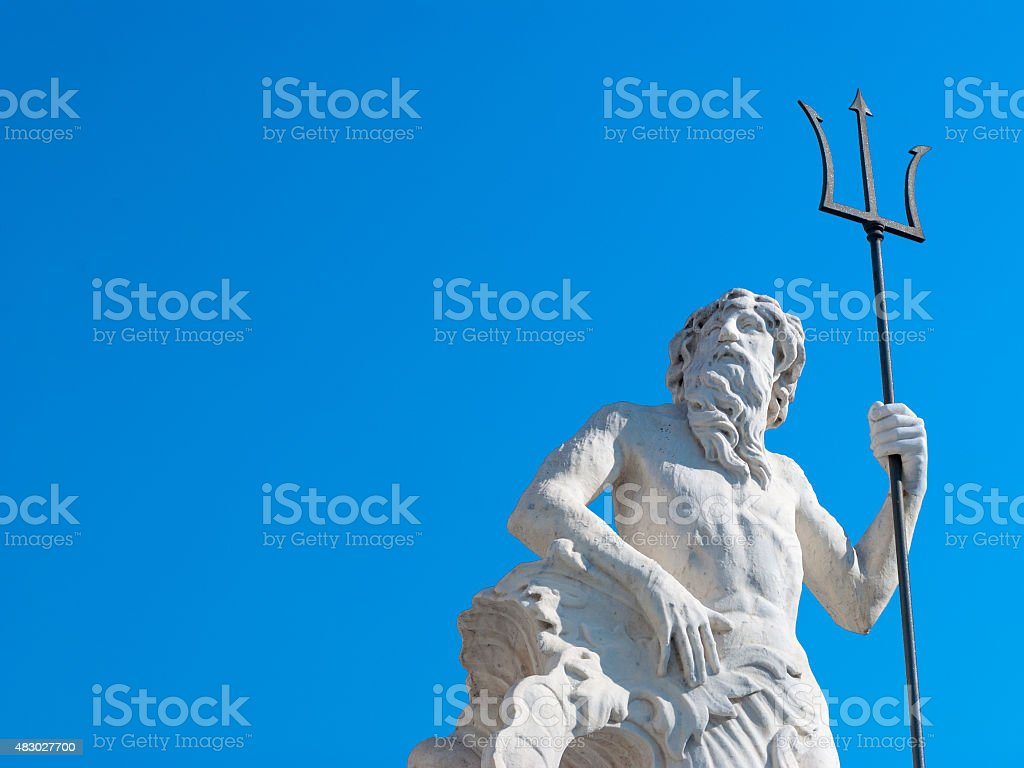 Statue of Neptune with trident stock photo