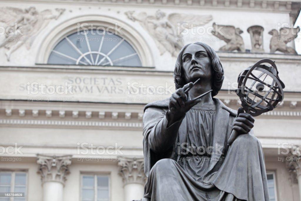 Statue of Nicolaus Copernicus in Warsaw, Poland. stock photo